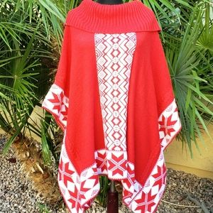 Womens Christmas Red Knit Cowl Neck Poncho Sweater